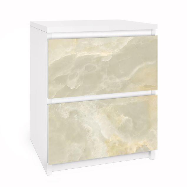 Möbelfolie für IKEA Malm Kommode - Onyx Marmor Creme - Selbstklebefolie