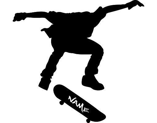 Wandtattoo No.RS120 Wunschtext Skateboarder