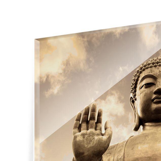 Glas Spritzschutz - Großer Buddha Sepia - Quadrat - 1:1