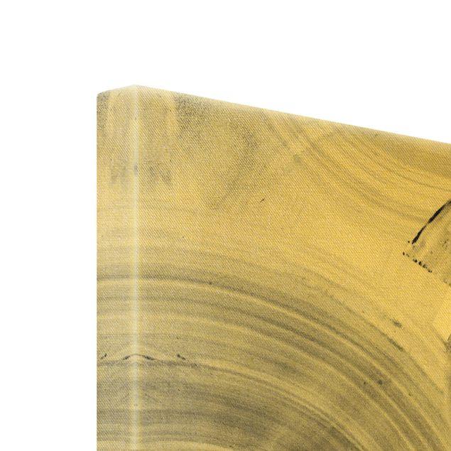 Leinwandbild Gold - Geschwungene Kreise Schwarz Weiß - Hochformat 2:3