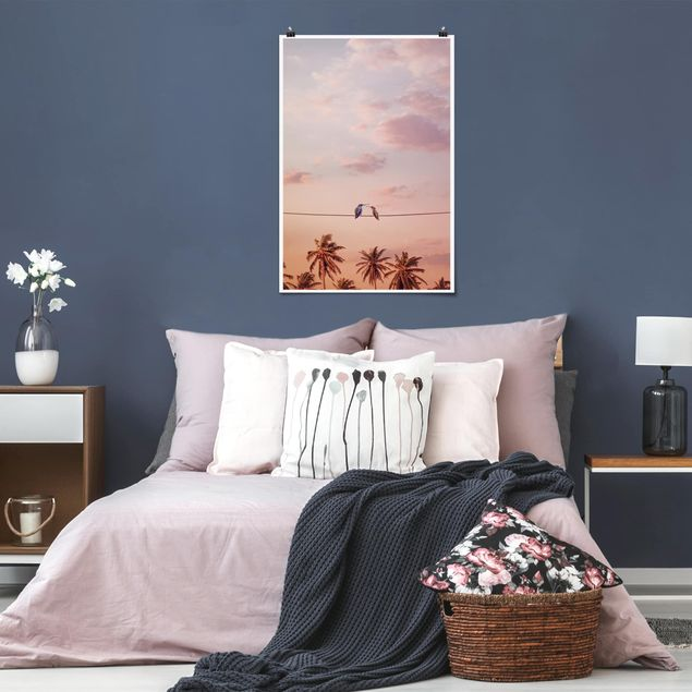Poster - Jonas Loose - Sonnenuntergang mit Kolibris - Hochformat 3:2
