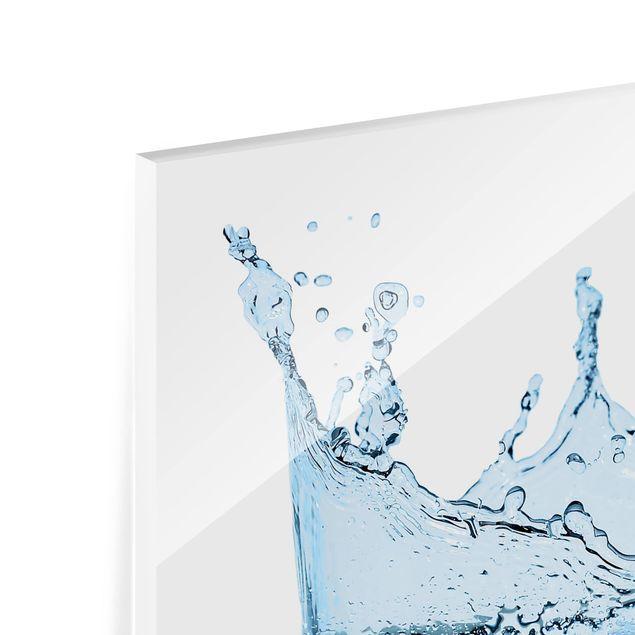 Glas Spritzschutz - Blue Water Splash No.2 - Quadrat - 1:1