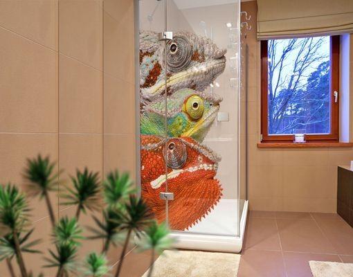Fensterfolie - XXL Fensterbild Bunte Chamäleons - Fenster Sichtschutz