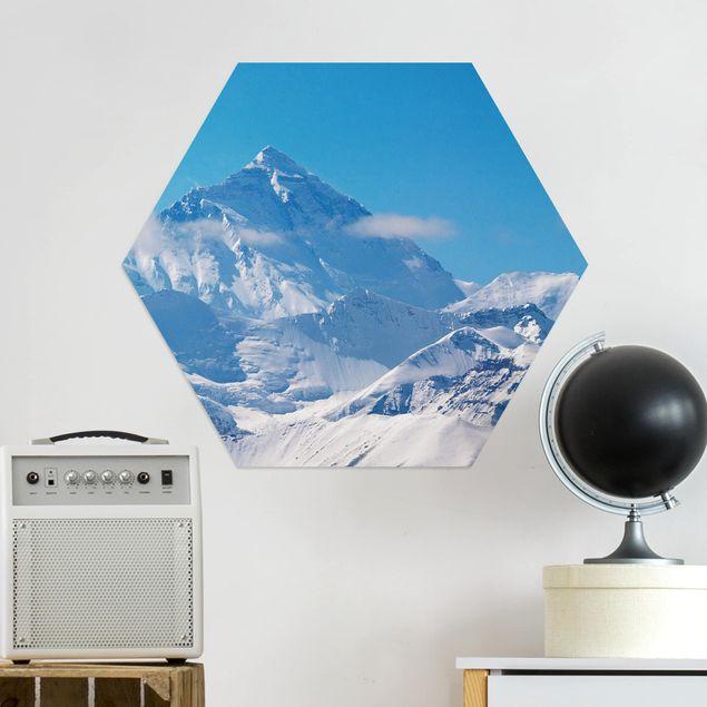 Hexagon Bild Alu-Dibond - Mount Everest