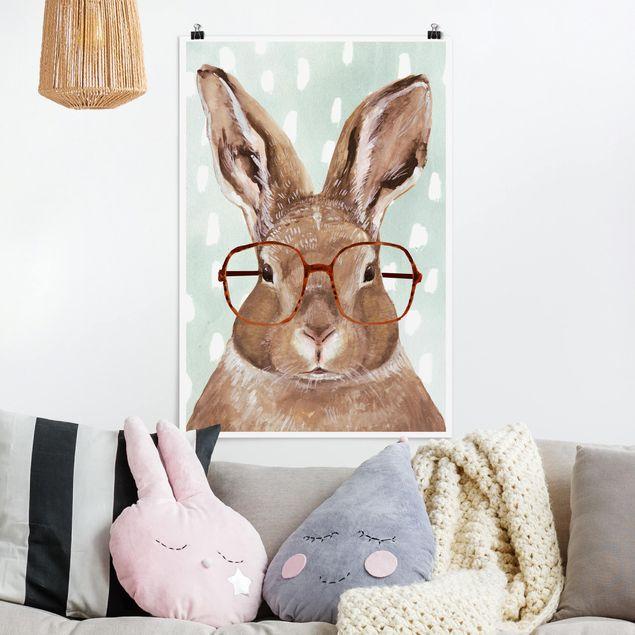 Poster - Bebrillte Tiere - Hase - Hochformat 3:2