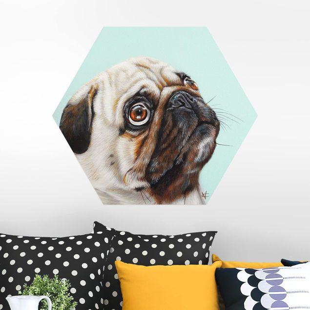 Hexagon Bild Alu-Dibond - Belohnung für Mops