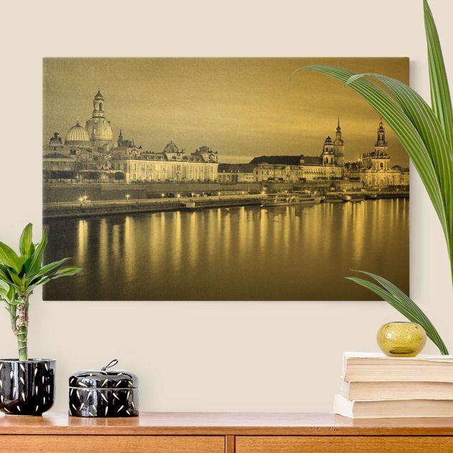 Leinwandbild Gold - Canaletto-Blick bei Nacht II - Querformat 3:2