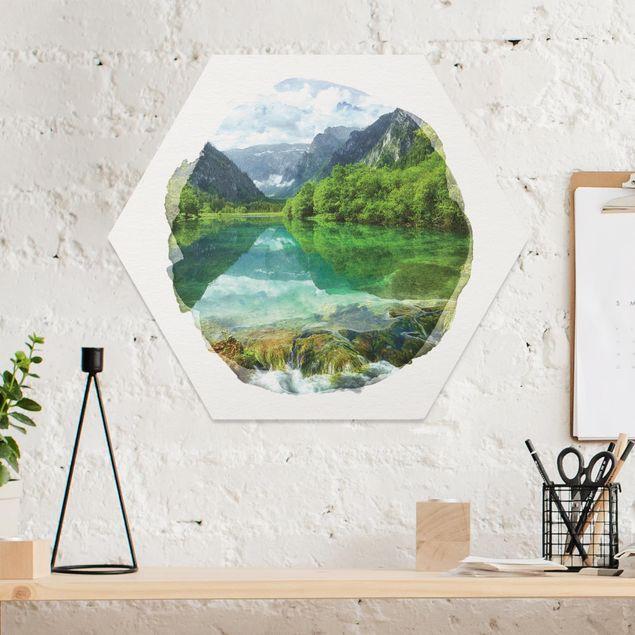 Hexagon Bild Forex - Wasserfarben - Bergsee mit Spiegelung