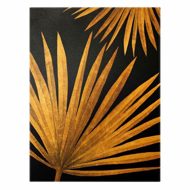 Leinwandbild Gold - Gold - Palmenblatt auf Schwarz - Hochformat 3:4