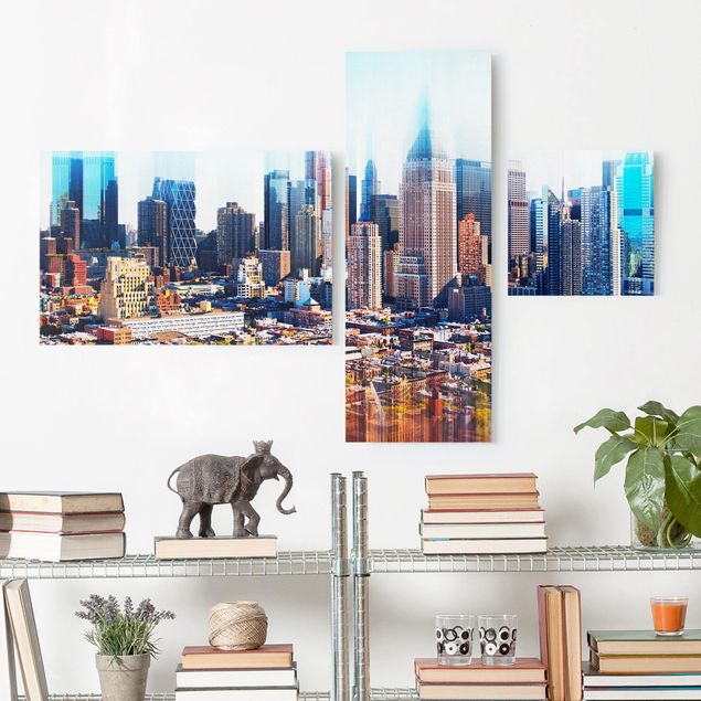 Leinwandbild 3-teilig - Manhattan Skyline Urban Stretch - Collage 2