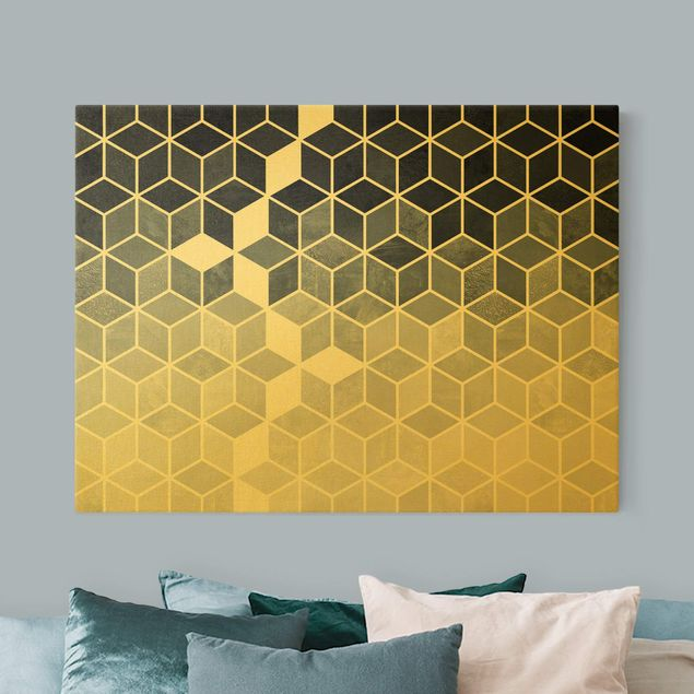 Leinwandbild Gold - Goldene Geometrie - Blau Weiß - Querformat 4:3