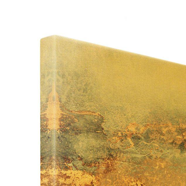 Leinwandbild Gold - Gold-Grauer Nebel - Querformat 3:2