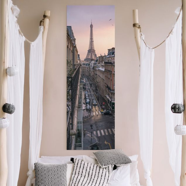 Leinwandbild - Eiffelturm bei Sonnenuntergang - Panorama Hochformat 1:3