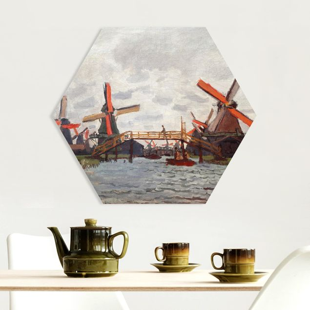 Hexagon Bild Forex - Claude Monet - Windmühlen Zaandam