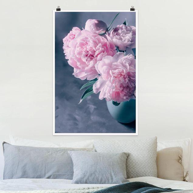 Poster - Vase mit Rosa Pfingstrosen Shabby - Hochformat 3:2
