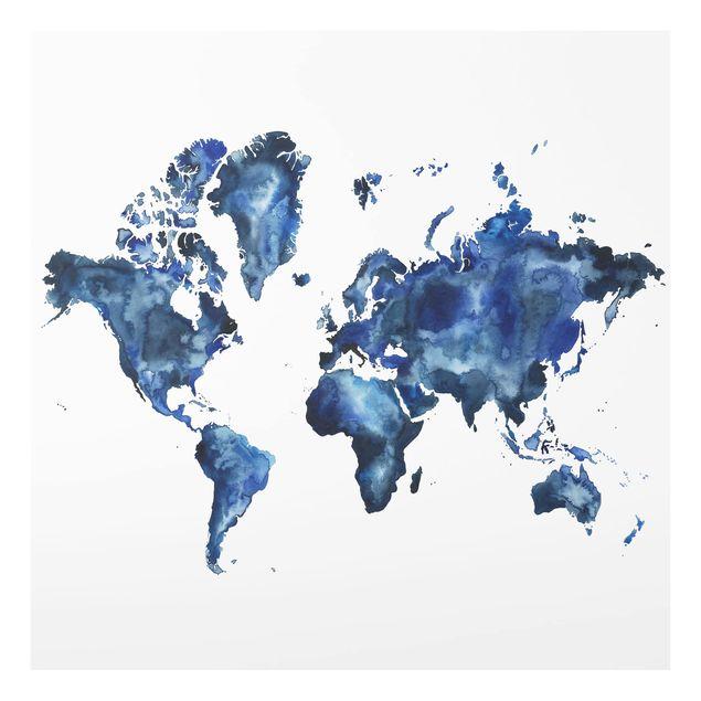 Glas Spritzschutz - Wasser-Weltkarte hell - Quadrat - 1:1
