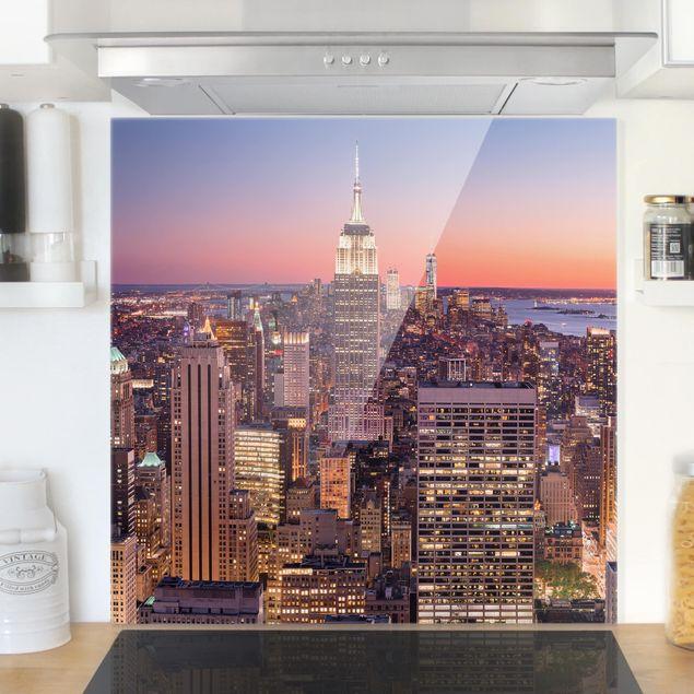 Glas Spritzschutz - Sonnenuntergang Manhattan New York City - Quadrat - 1:1