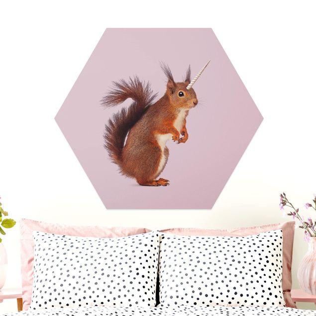 Hexagon Bild Alu-Dibond - Jonas Loose - Einhörnchen