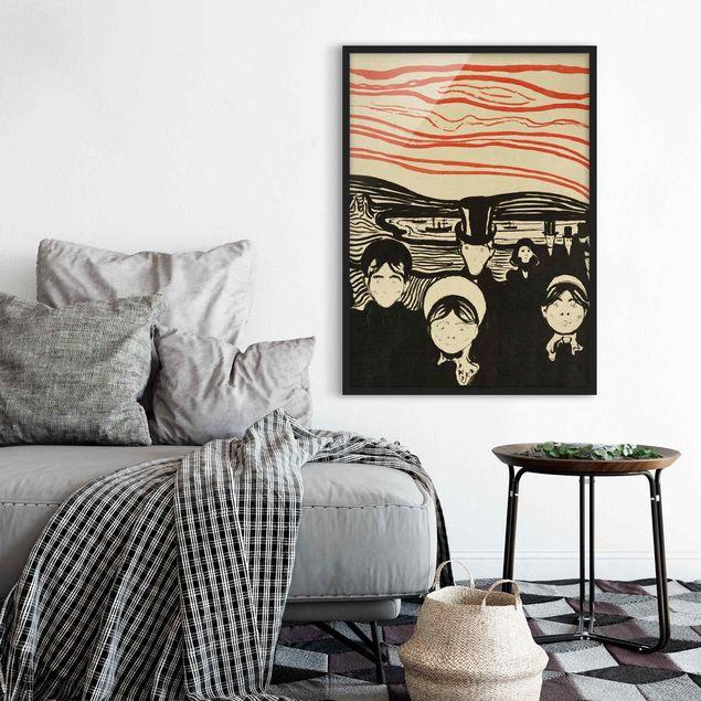 Bild mit Rahmen - Edvard Munch - Angstgefühl - Hochformat 3:4