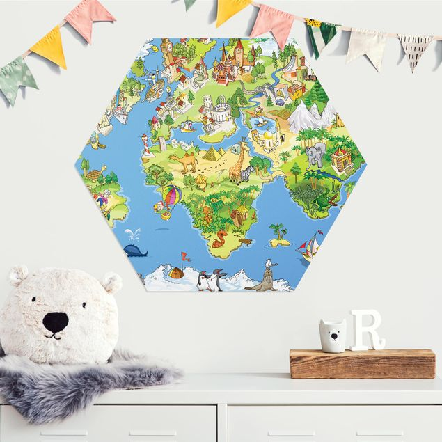 Hexagon Bild Alu-Dibond - Great and funny Worldmap