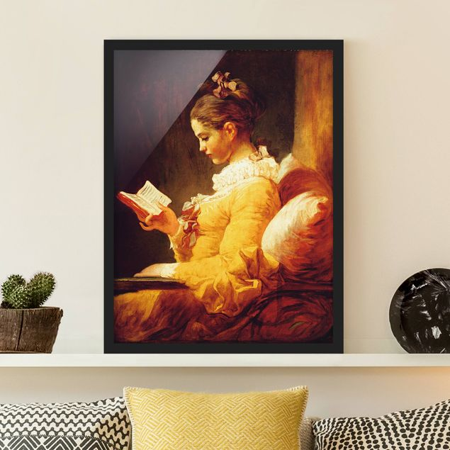Bild mit Rahmen - Jean Honoré Fragonard - Lesendes Mädchen - Hochformat 3:4