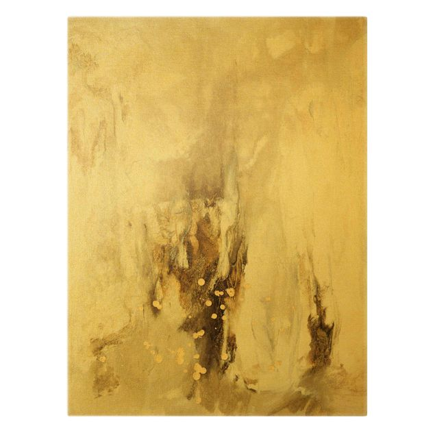 Leinwandbild Gold - Goldener Treibsand II - Hochformat 3:4