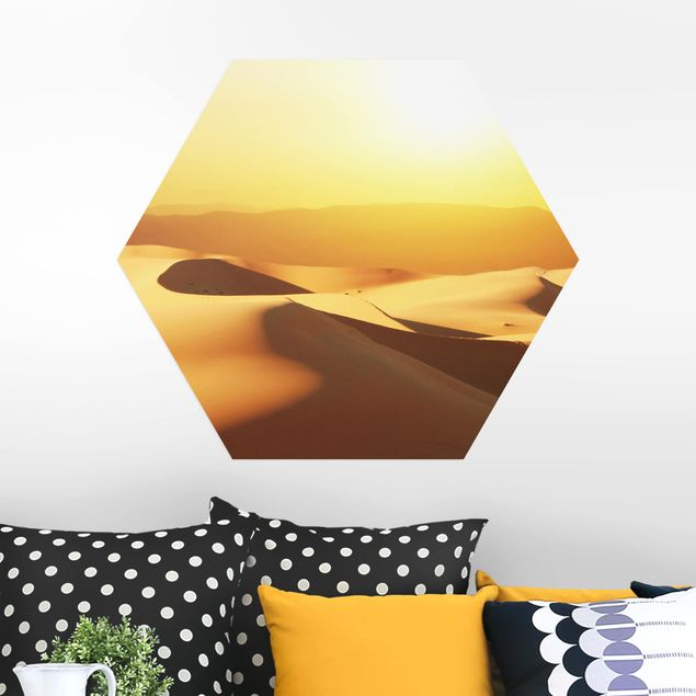 Hexagon Bild Alu-Dibond - Die Wüste Saudi Arabiens