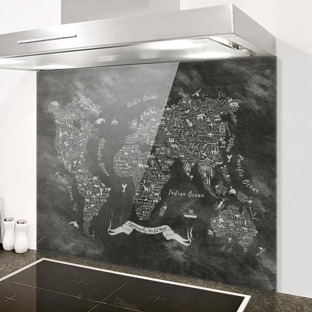Glas Spritzschutz - Kreide Typografie Weltkarte - Querformat - 4:3