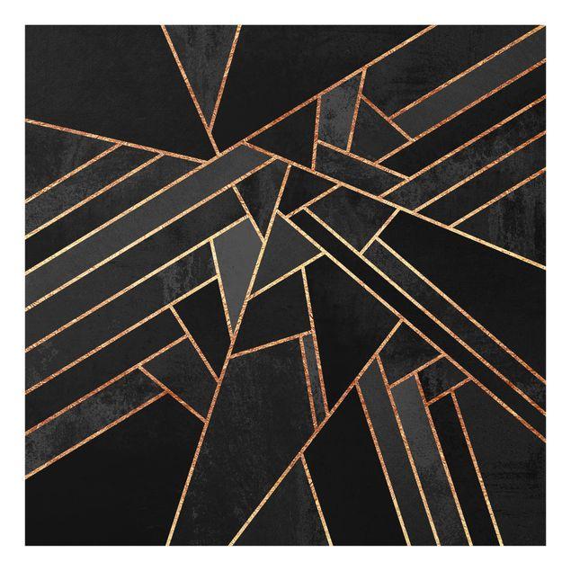 Glas Spritzschutz - Schwarze Dreiecke Gold - Quadrat - 1:1