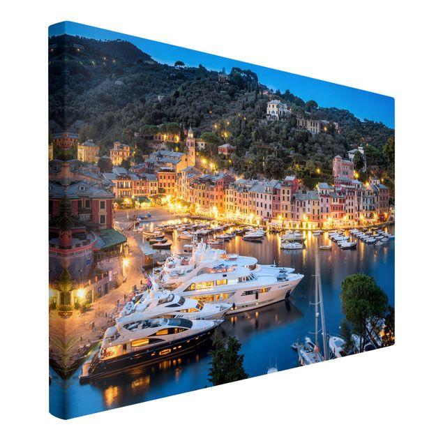 Leinwandbild - Nacht im Hafen von Portofino - Querformat 3:2