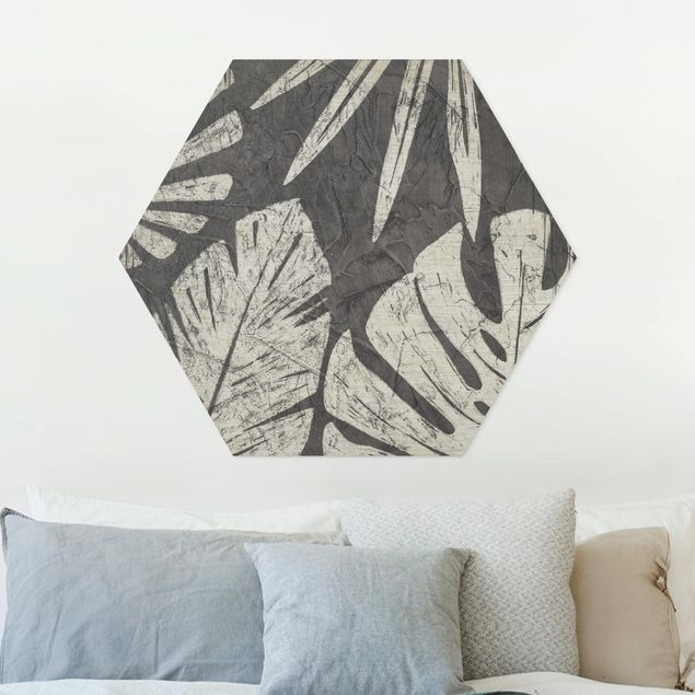 Hexagon Bild Forex - Palmenblätter vor Dunkelgrau