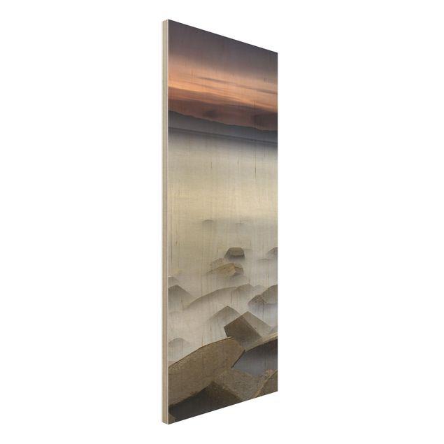 Holzbild - Sonnenuntergang im Nebel - Panel