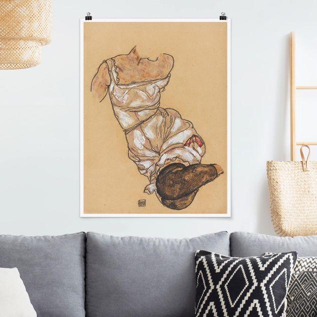 Poster - Egon Schiele - Weiblicher Torso in Unterwäsche - Hochformat 3:4