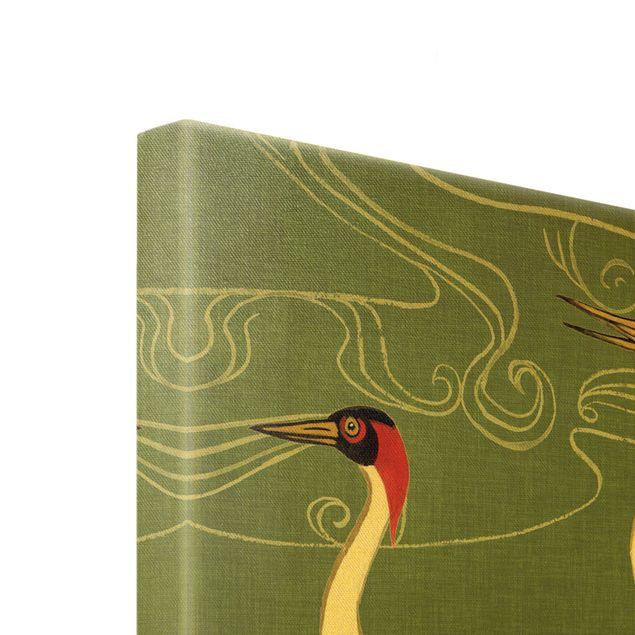Leinwandbild Gold - Kraniche mit goldenen Federn I - Querformat 4:3