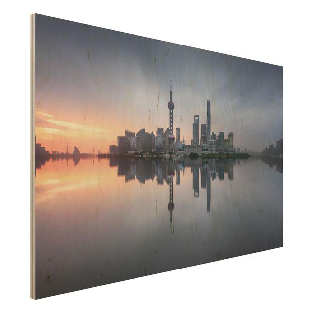 Holzbild - Shanghai Skyline Morgenstimmung - Querformat 2:3