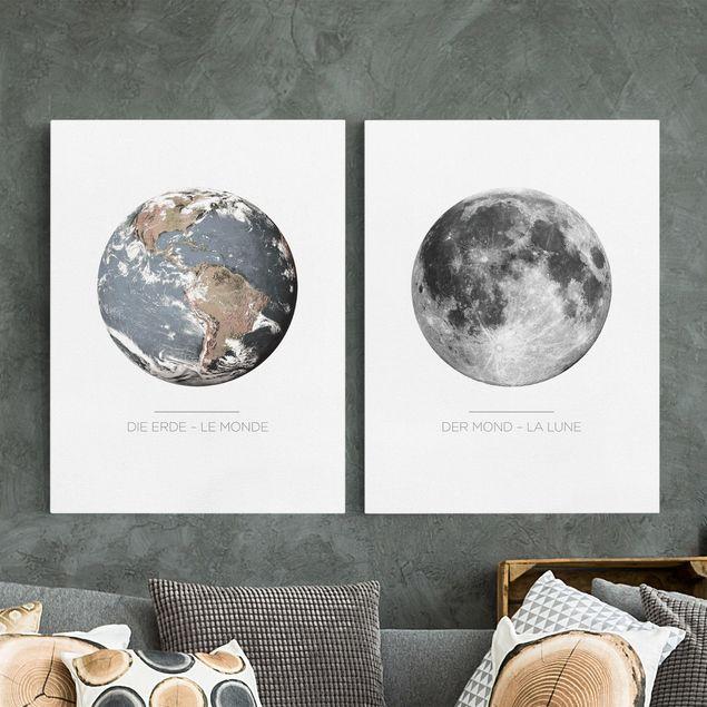Leinwandbild 2-teilig - Mond und Erde - Hoch 4:3