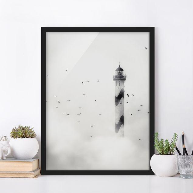 Bild mit Rahmen - Leuchtturm im Nebel - Hochformat 3:4