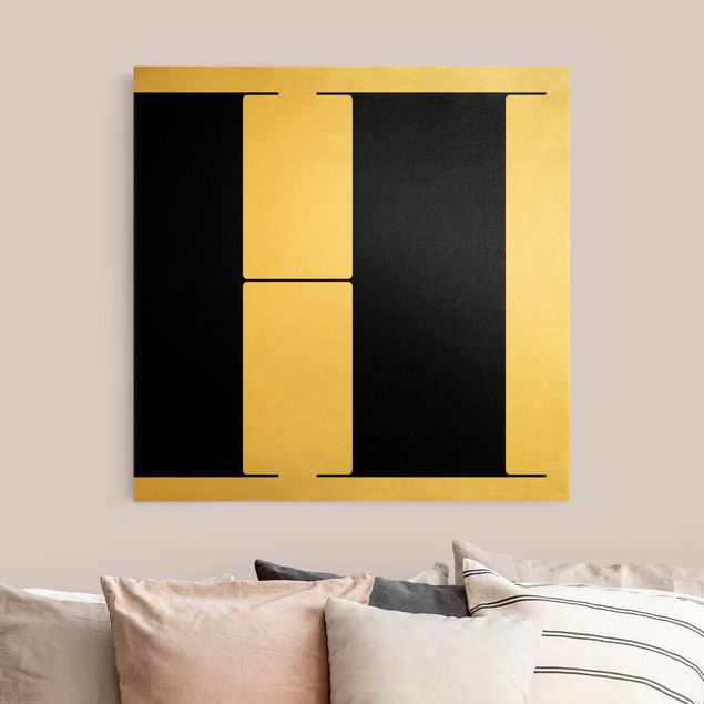 Leinwandbild Gold - Antiqua Letter H - Quadrat 1:1