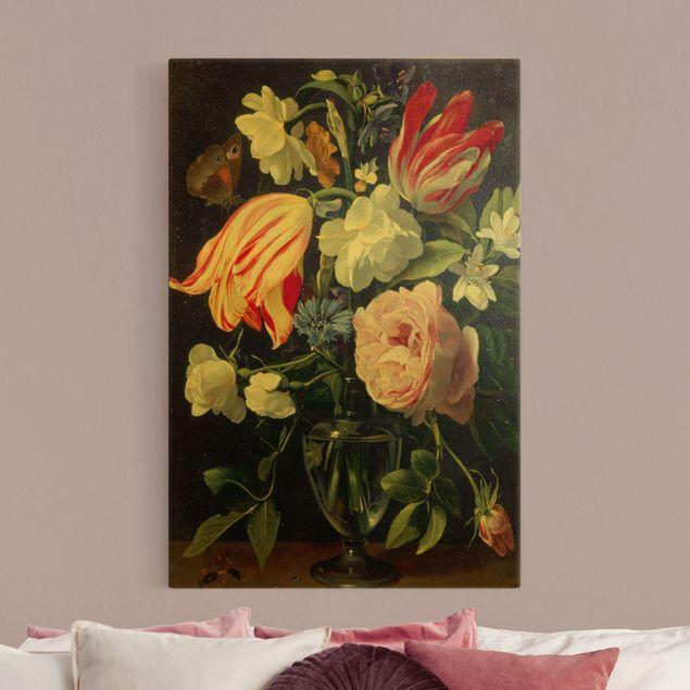 Leinwandbild Gold - Daniel Seghers - Vase mit Blumen - Hochformat 2:3