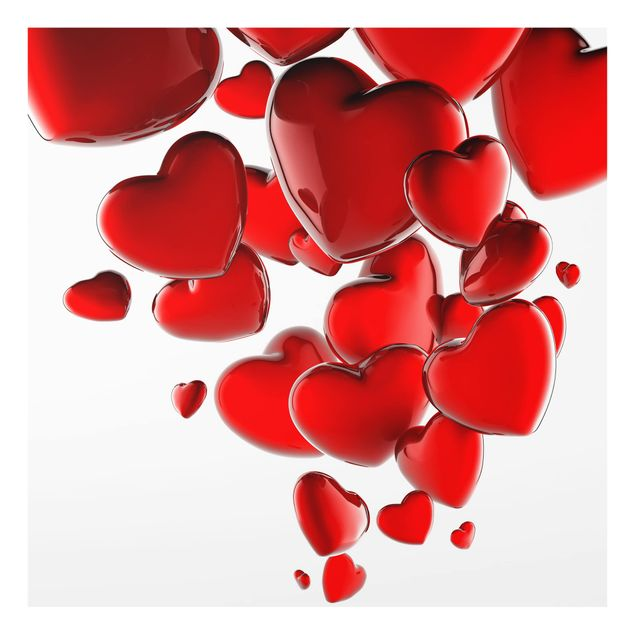 Glas Spritzschutz - No.425 Herzballons - Quadrat - 1:1