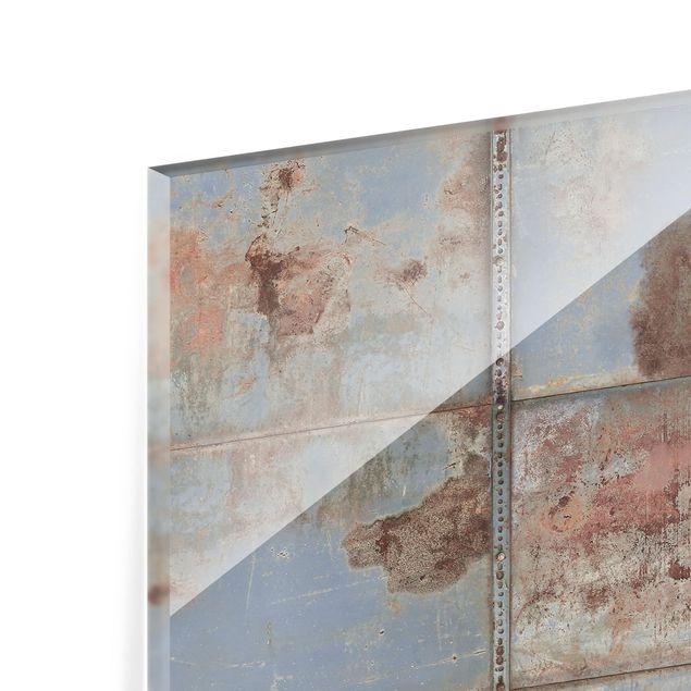 Glas Spritzschutz - Shabby Industrial Metalloptik - Querformat - 4:3