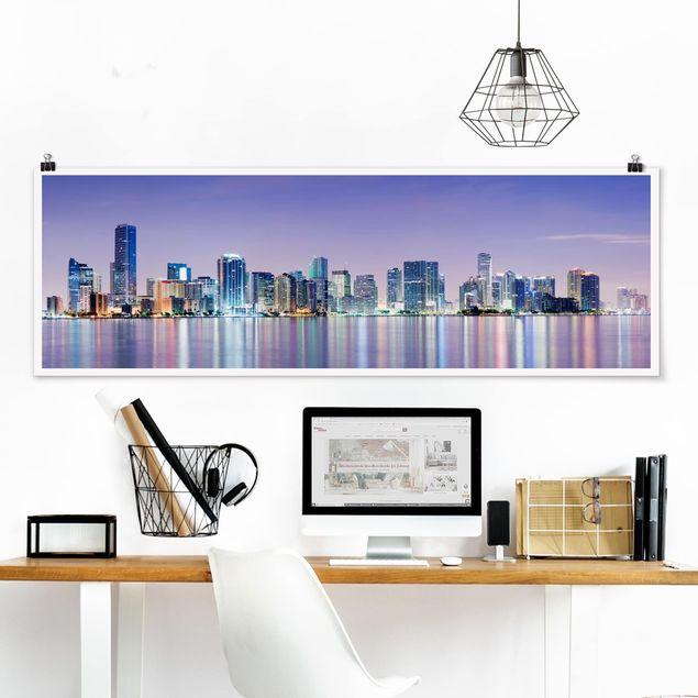 Poster - Purple Miami Beach - Panorama Querformat