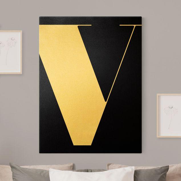 Leinwandbild Gold - Antiqua Letter V Schwarz - Hochformat 3:4