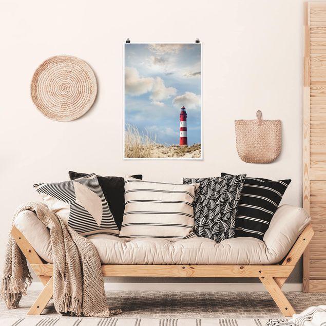 Poster - Leuchtturm in den Dünen - Hochformat 3:2