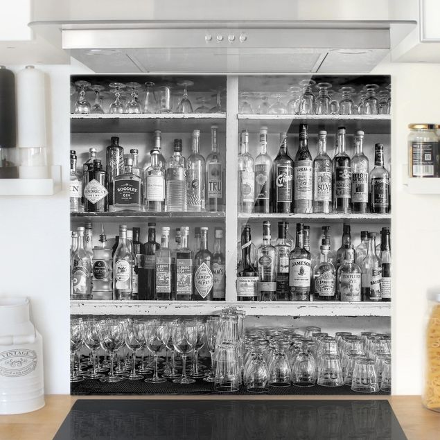 Glas Spritzschutz - Bar Schwarz Weiß - Quadrat - 1:1