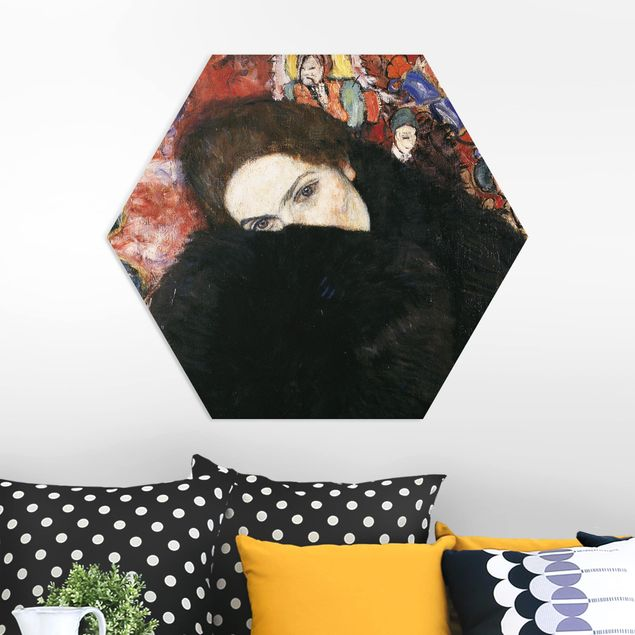 Hexagon Bild Forex - Gustav Klimt - Dame mit Muff
