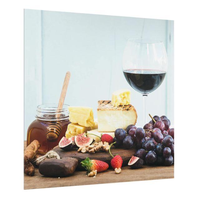 Glas Spritzschutz - Käse und Wein - Quadrat - 1:1