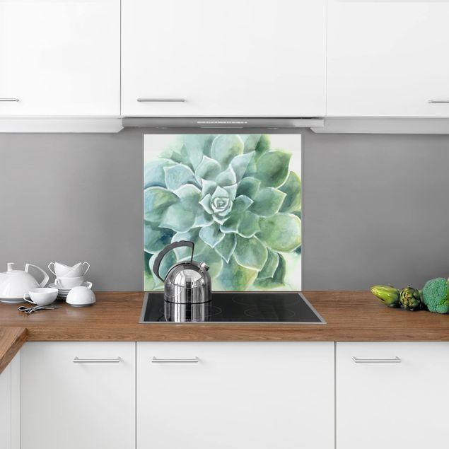 Glas Spritzschutz - Sukkulente Aquarell Dunkel - Quadrat - 1:1