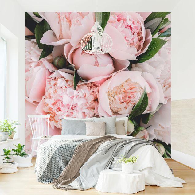 Fototapete - Rosa Pfingstrosen mit Blättern