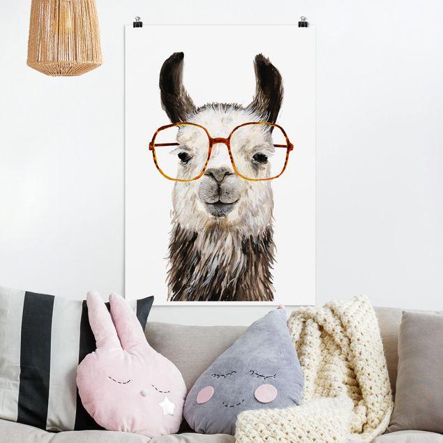 Poster - Hippes Lama mit Brille IV - Hochformat 3:2